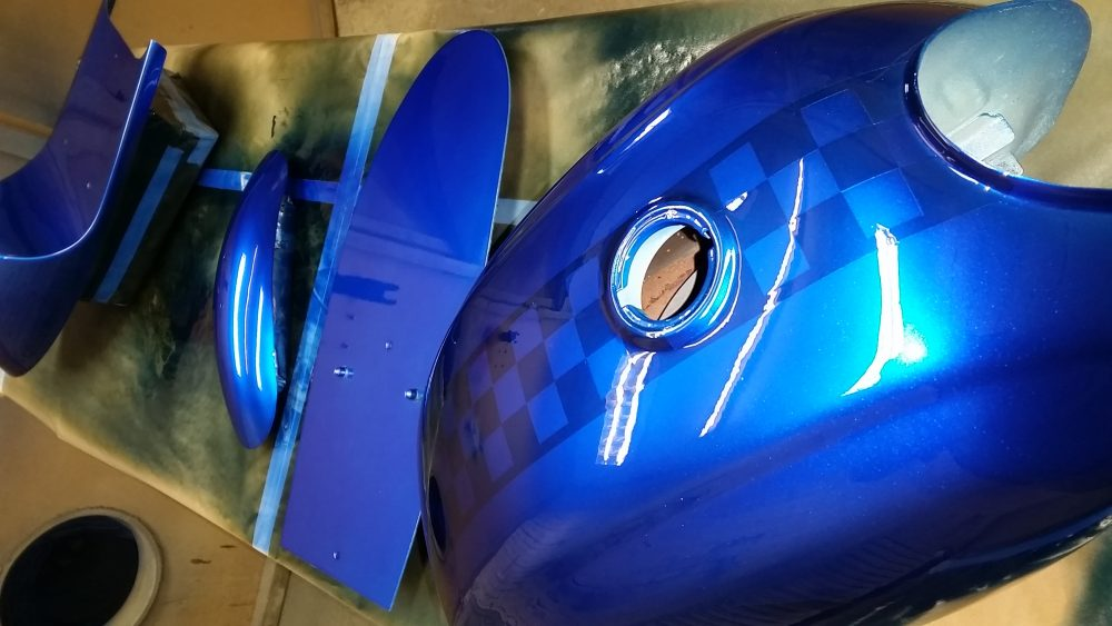 Honda cd200 painted in our REGAL CANDY BLUE over our COARSE SILVER METALLIC BASE COAT and our 2K CLEAR